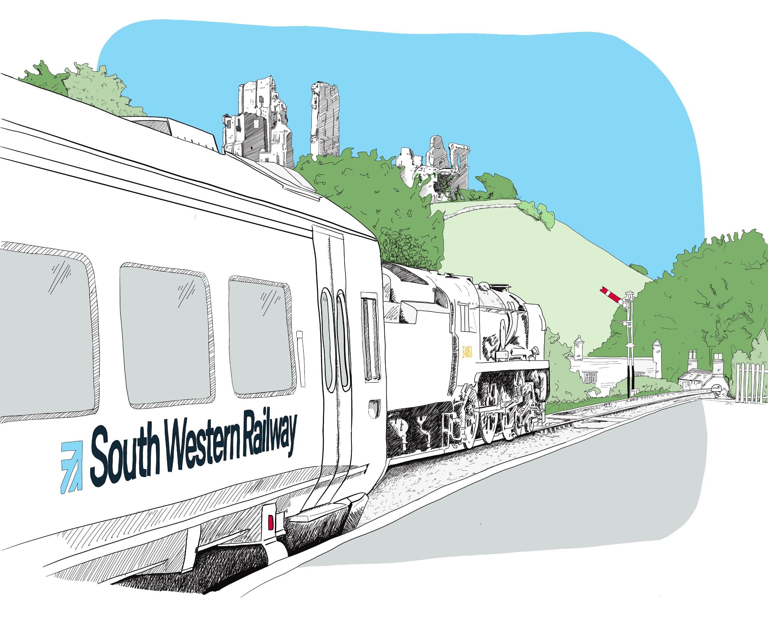 Purbeck Community Rail Partnership Painting Whitebg 2560px