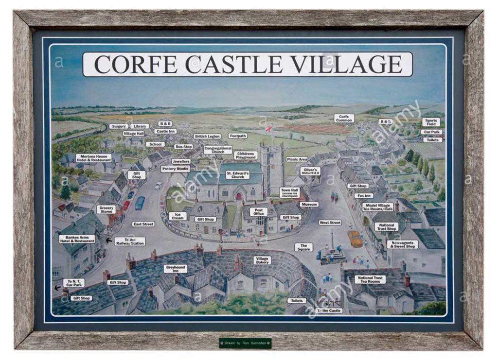 Corfe Castle Village Map Lo Res