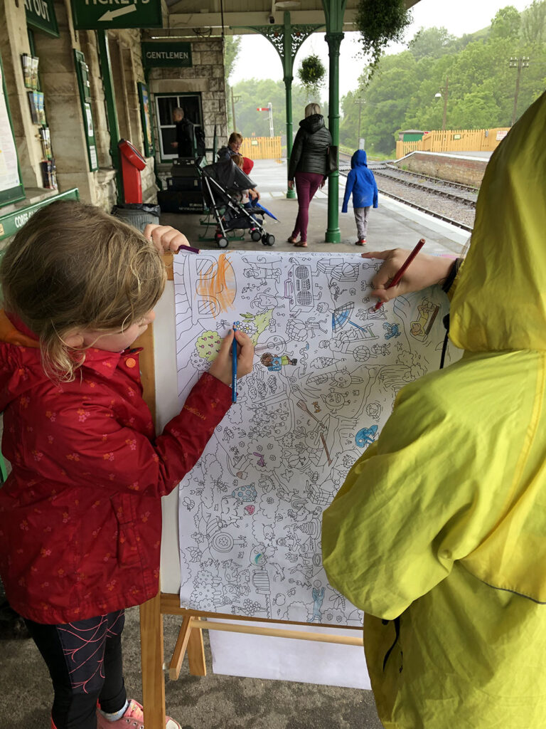 Colouring At Corfe Castle Station On A Wet Half Term